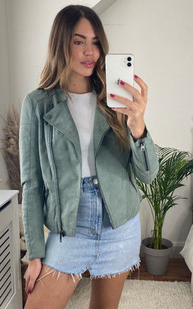 Faux Leather Biker Jacket in Green by ONLY