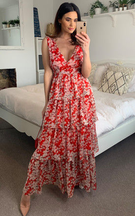 Mia Chiffon V Neck Maxi Dress in Red Floral Print by Traffic People