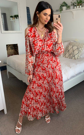 Requim Midi Floral Dress in Red by Traffic People