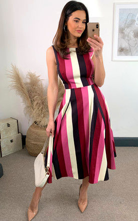 Frances Pink Bubble Gum Stripe Swing Midi Dress by Collectif Clothing