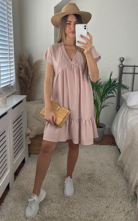 V-Neck Tiered Mini Smock Dress In Beige by Gini London