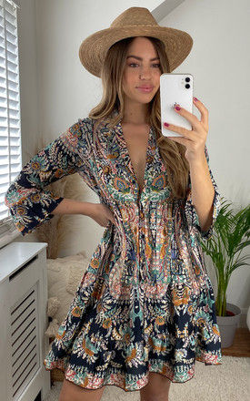 Boho Dress with Bell Sleeve in Black Patterned Print by Bella and Blue