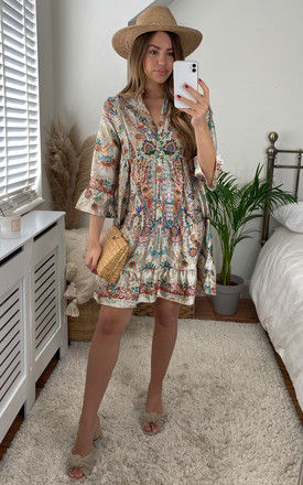 Boho Dress with Bell Sleeve in Beige Patterned Print by Bella and Blue
