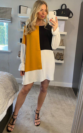 Oversized Colour Block Top in Mustard, Black and White by HOXTON GAL