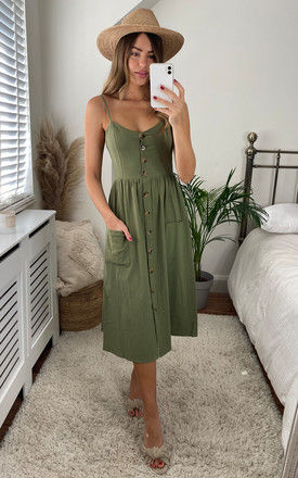 Button Through Strappy Midi Dress In Green by Miss Floral
