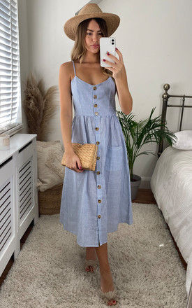 Button Through Strappy Midi Dress In Blue Stripes by Miss Floral