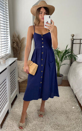 Button Through Strappy Midi Dress In Navy by Miss Floral
