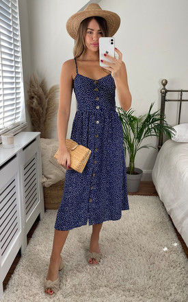 Floral Print Button Through Strappy Midi Dress In Navy by Miss Floral