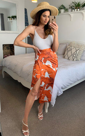 Palm leaf midi wrap skirt in Orange and white by D.Anna