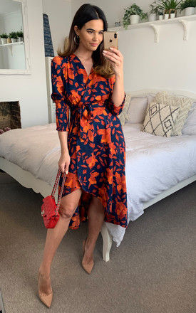 Orange and navy floral wrap dress by D.Anna