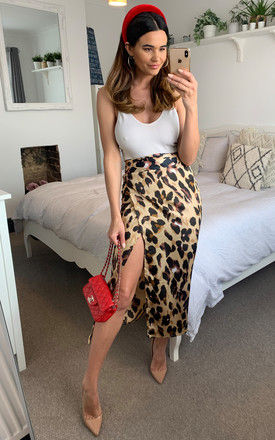 Satin brown leopard print midi wrap skirt with belt fastening by D.Anna