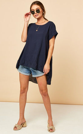 Dipped Frill Hem T Shirt Top in Navy by Bella and Blue