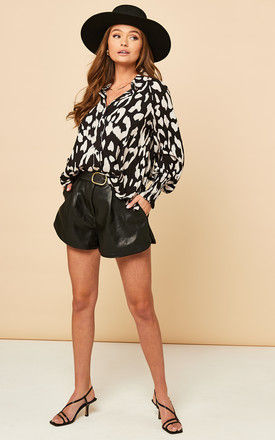 Shirt with Shirred Cuff in Black and White Leopard Print by Bella and Blue