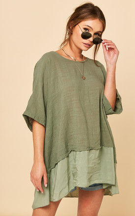 Oversized Top with Contrasting Hem in Khaki by Bella and Blue