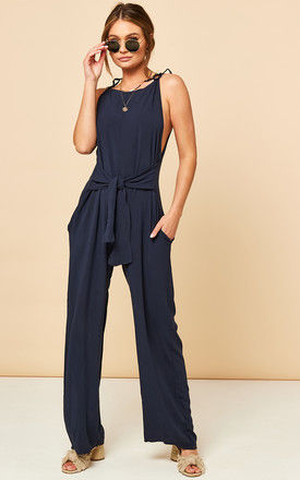 Tie Front Jumpsuit in Navy by Bella and Blue