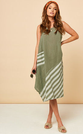 Sleeveless Summer Midi Dress in Khaki with White Stripes by Bella and Blue