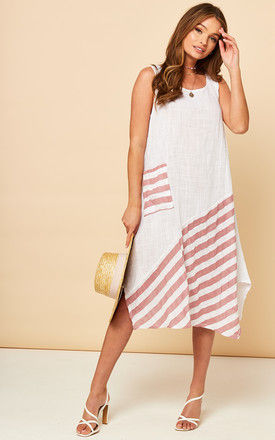 Sleeveless Summer Midi Dress In White With Pink Stripes by Bella and Blue