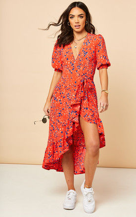 Midi Wrap Dress with Short Cuff Sleeve in Patterned Print - Red by Bella and Blue
