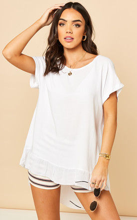 Dipped Frill Hem T Shirt Top in White by Bella and Blue