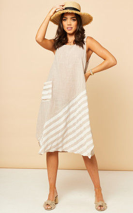 Sleeveless Summer Midi Dress In Beige With White Stripes by Bella and Blue