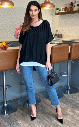 2 in 1 Top with Necklace in Black by Bella and Blue