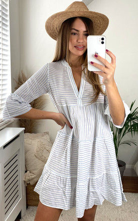 Mini Dress with 3/4 Sleeve in White with Blue Stripe by VM