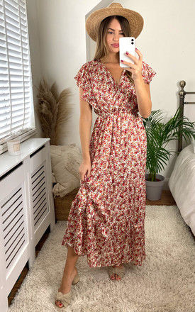 Crossover V Neck Floral Chiffon Maxi Dress in White by KURT MULLER