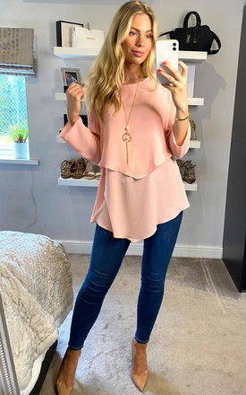 3/4 Sleeve Relaxed Layered Top with Necklace In Pink by HOXTON GAL
