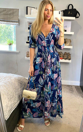 Multi Print Feather Buttoned Midi Dress in Navy by ANGELEYE