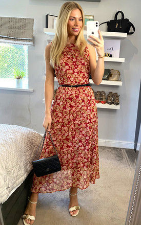 Belted Floral Midi Dress in Red by ANGELEYE