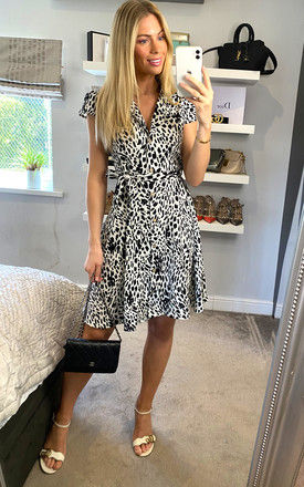 Mix Printed Buttoned Mini Dress in Black and White by ANGELEYE