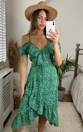 Cold Shoulder Midi Wrap Dress in Green Ditsy Print by Bella and Blue