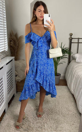 Cold Shoulder Midi Wrap Dress in Blue Ditsy Print by Bella and Blue