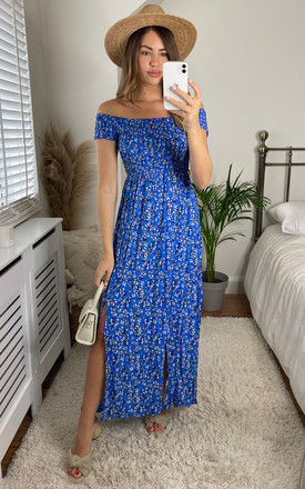 Ditsy Floral Maxi Dress In Blue by Mela London