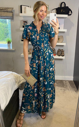 Floral Print Flute Sleeves Maxi Dress in Emerald by ANGELEYE