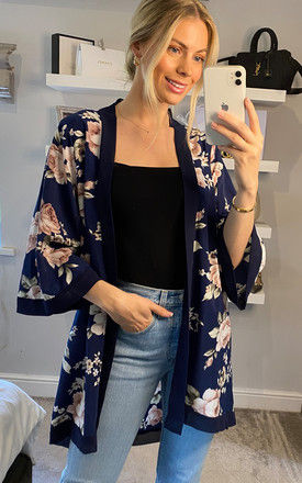 Floral Kimono in Multi Navy by ANGELEYE