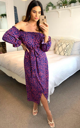 Bardot pink leopard print wrap dress with front slit in purple by D.Anna