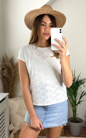 Short Sleeve embroidered Top in white by ONLY