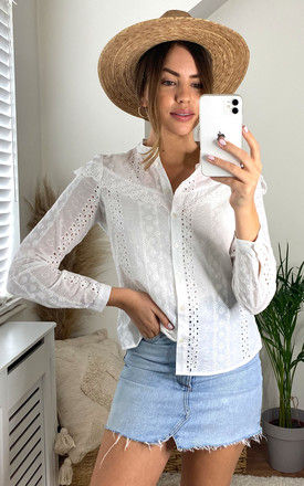 Cotton Broderie Anglaise Shirt in White by VM