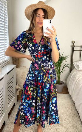 Floral Flared Midi Dress In Navy by Yumi