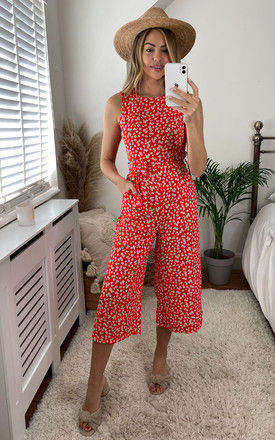Floral Ditsy Printed Jumpsuit in Red by Mela London