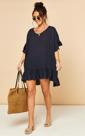 Linen Ruffle Hem Top in Navy by Bella and Blue