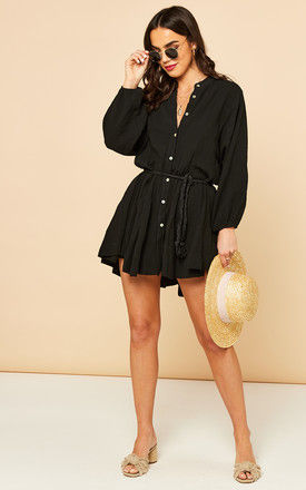 Mini Shirt Dress with Tie Waist in Black by Bella and Blue