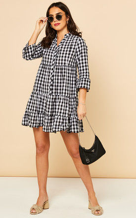 Tiered Mini Dress in Black and White Gingham by Bella and Blue