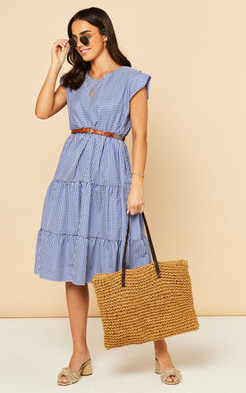 Tiered Midi Dress in Blue and White Check by Bella and Blue