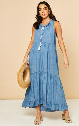 Denim Tiered Maxi Dress with Tassel Neck Tie by Bella and Blue