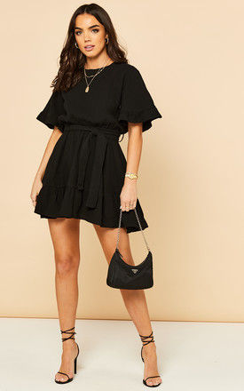 Mini Skater Dress with Tie Waist in Black by Bella and Blue