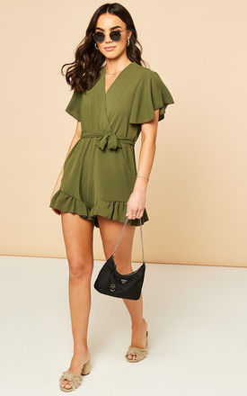 Tie Waist Playsuit in Khaki by Bella and Blue