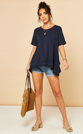 T Shirt with Broderie Hemline in Navy by Bella and Blue