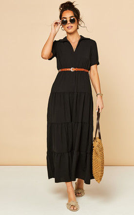 Tiered Maxi Dress with Short Sleeves in Black by Bella and Blue